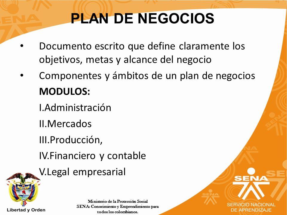PLAN DE NEGOCIOS Documento escrito que define claramente los objetivos, metas y alcance del negocio.