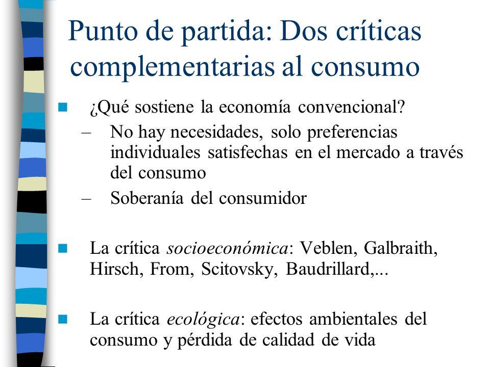 Punto de partida: Dos críticas complementarias al consumo