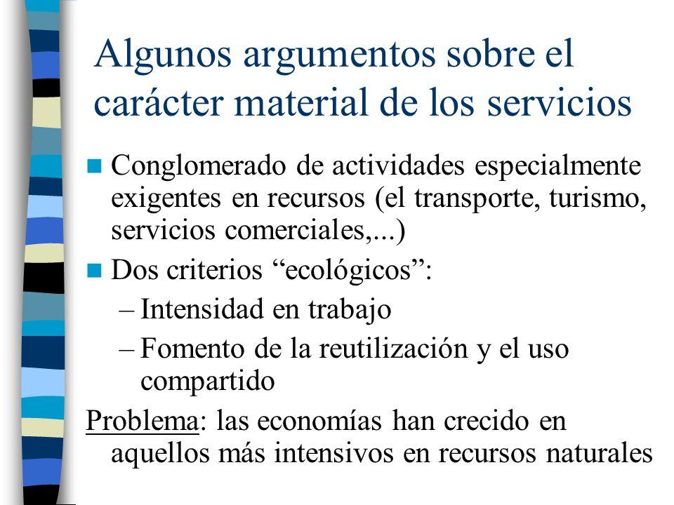 Algunos argumentos sobre el carácter material de los servicios