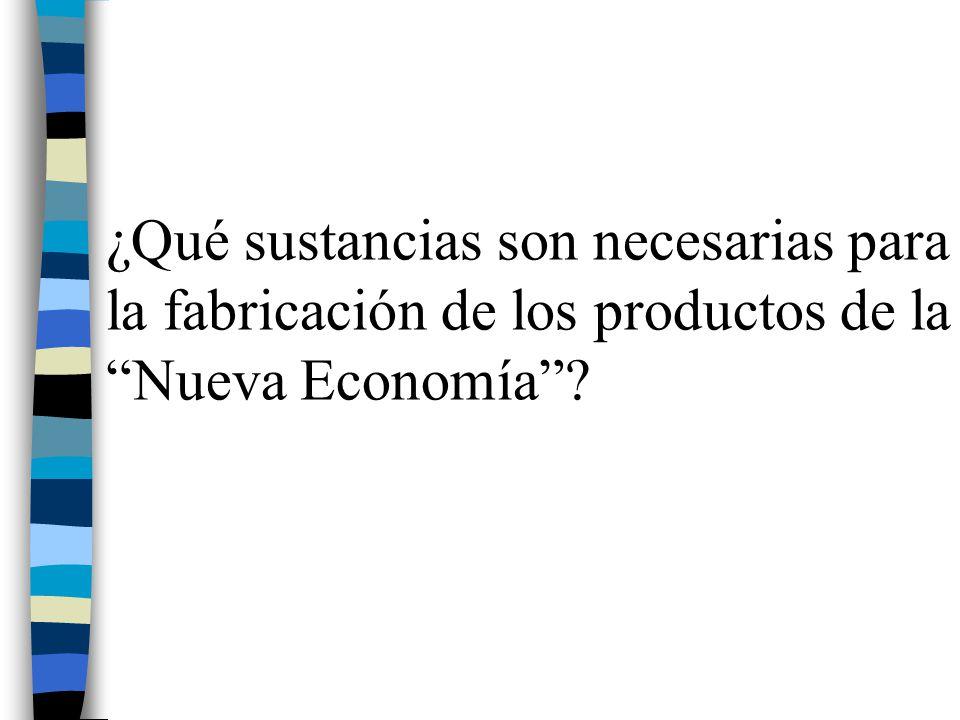 ¿Qué sustancias son necesarias para la fabricación de los productos de la Nueva Economía