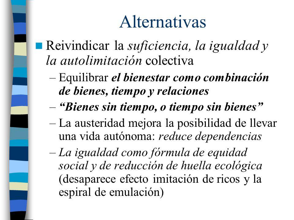 Alternativas Reivindicar la suficiencia, la igualdad y la autolimitación colectiva.