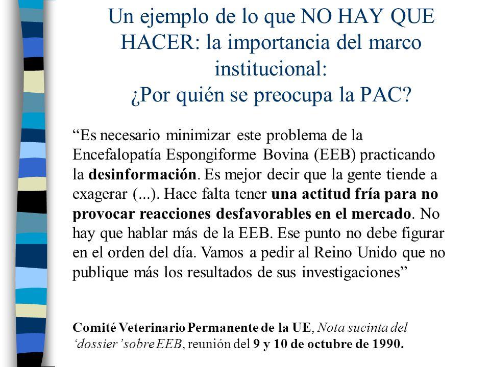 Un ejemplo de lo que NO HAY QUE HACER: la importancia del marco institucional: ¿Por quién se preocupa la PAC
