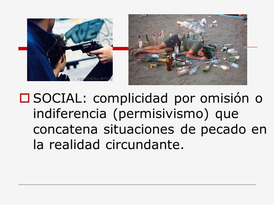 SOCIAL: complicidad por omisión o indiferencia (permisivismo) que concatena situaciones de pecado en la realidad circundante.