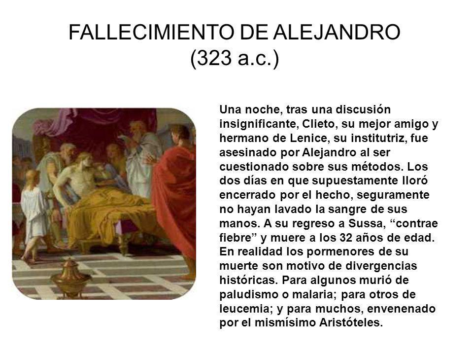 FALLECIMIENTO DE ALEJANDRO (323 a.c.)