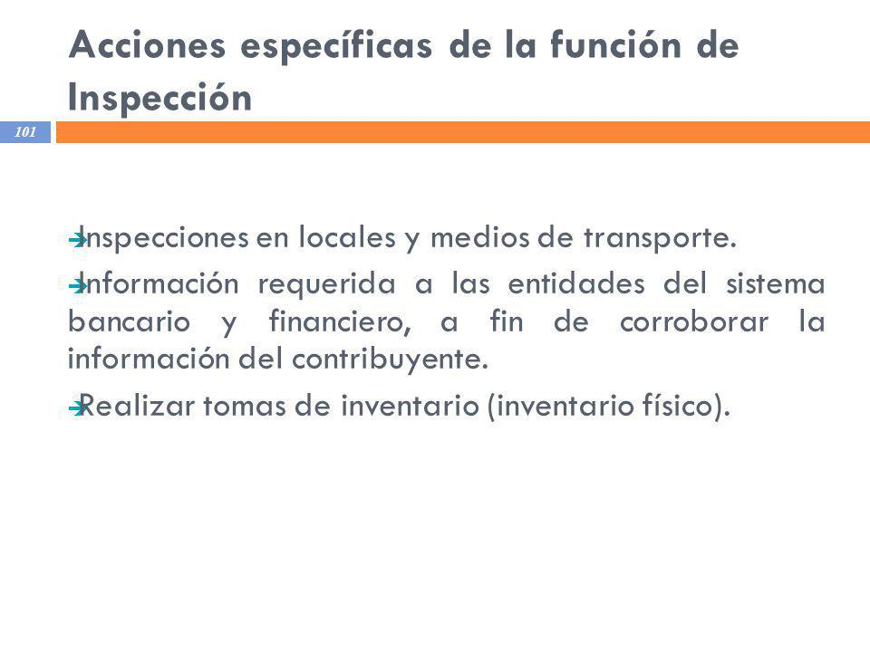 Acciones específicas de la función de Inspección