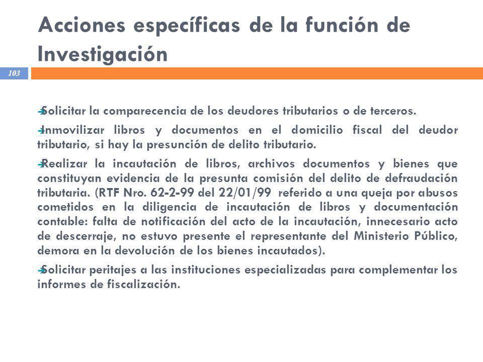 Acciones específicas de la función de Investigación