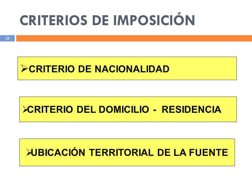 CRITERIOS DE IMPOSICIÓN