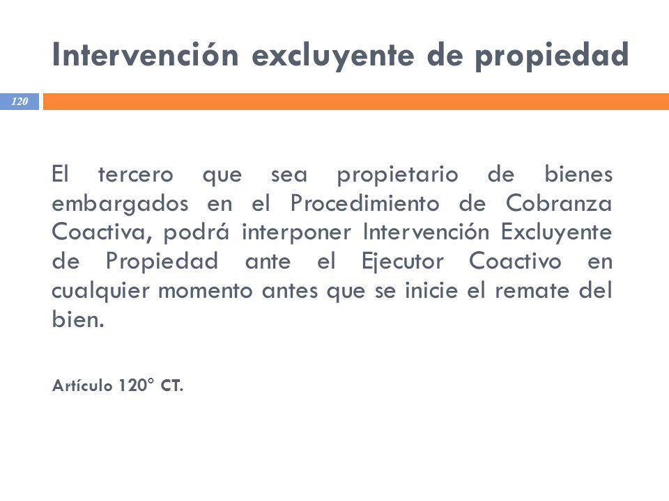 Intervención excluyente de propiedad