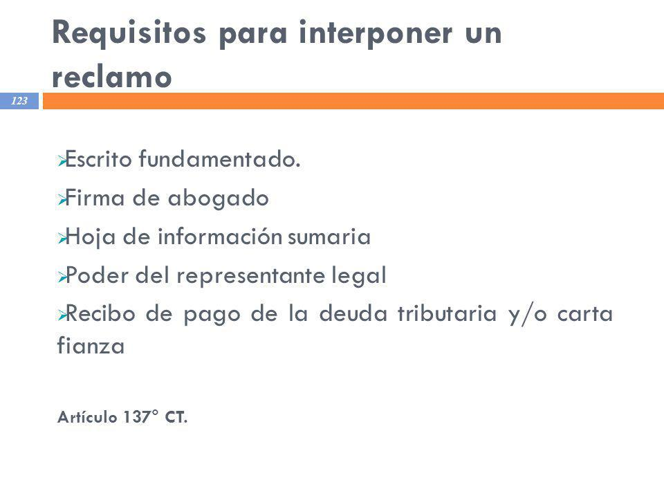 Requisitos para interponer un reclamo