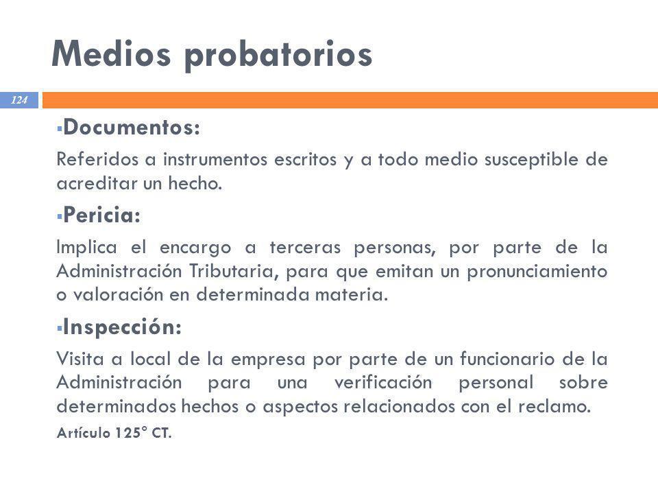 Medios probatorios Documentos: Pericia: Inspección: