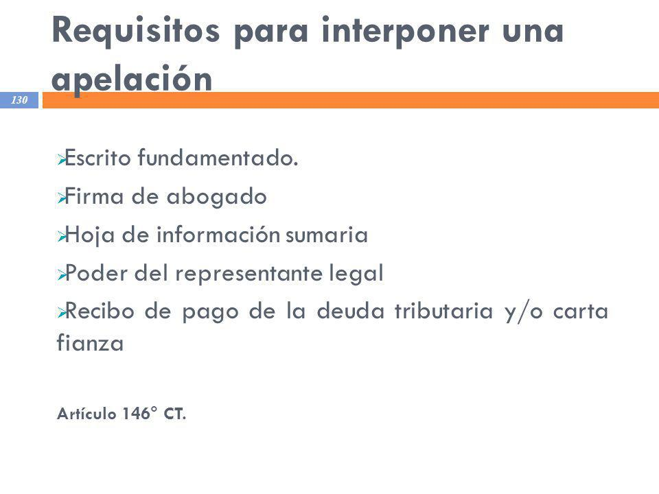 Requisitos para interponer una apelación
