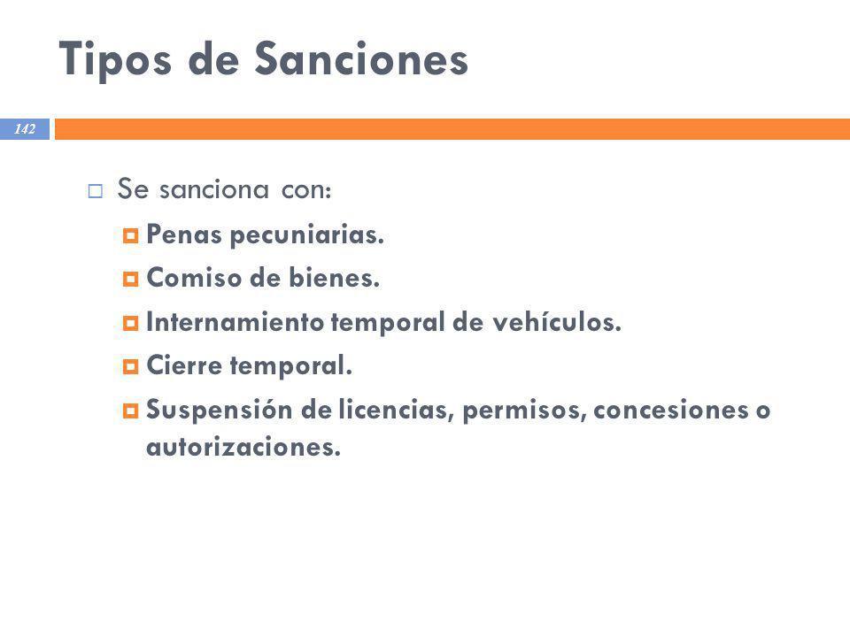 Tipos de Sanciones Se sanciona con: Penas pecuniarias.