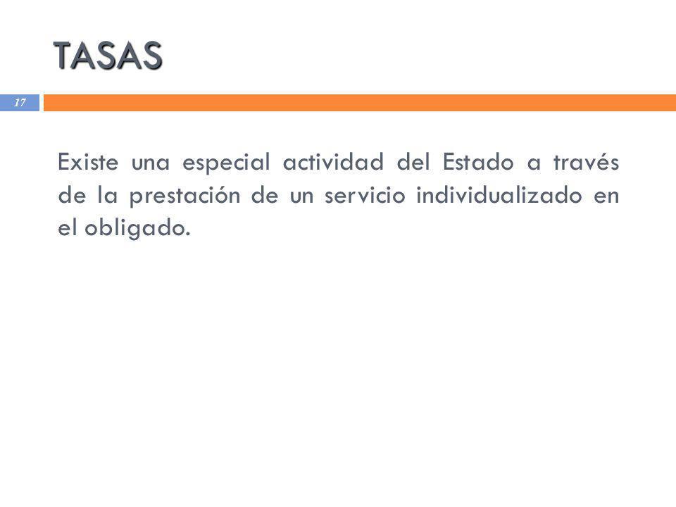 TASAS Existe una especial actividad del Estado a través de la prestación de un servicio individualizado en el obligado.