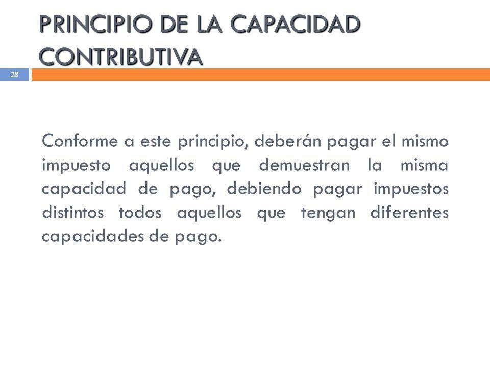 PRINCIPIO DE LA CAPACIDAD CONTRIBUTIVA