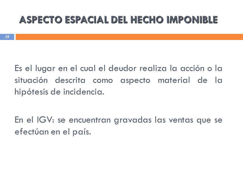 ASPECTO ESPACIAL DEL HECHO IMPONIBLE