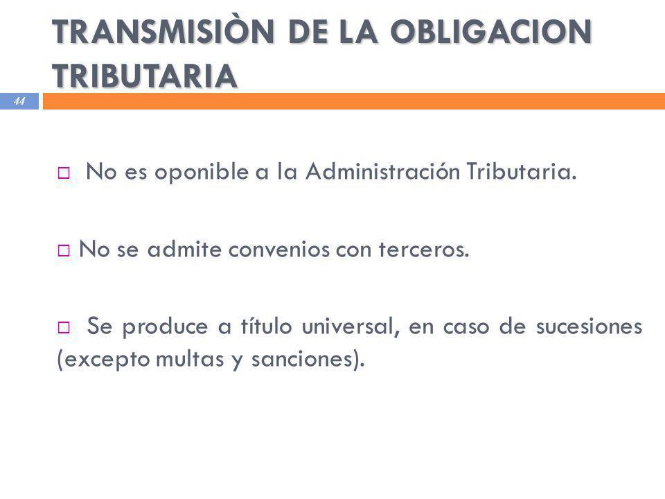 TRANSMISIÒN DE LA OBLIGACION TRIBUTARIA
