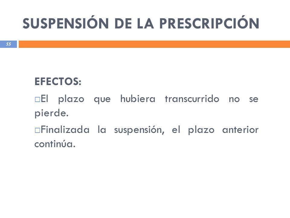 SUSPENSIÓN DE LA PRESCRIPCIÓN