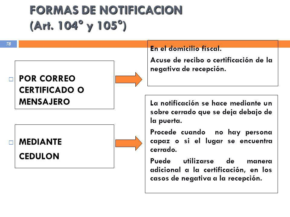 FORMAS DE NOTIFICACION (Art. 104° y 105°)