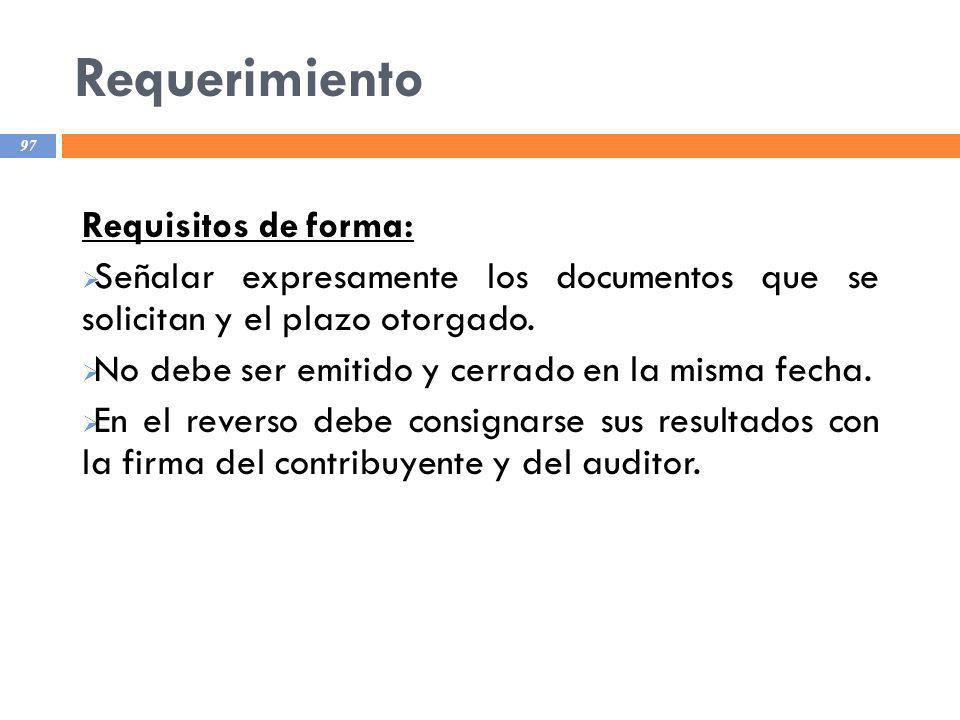Requerimiento Requisitos de forma:
