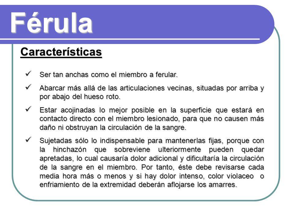 Férula Características Ser tan anchas como el miembro a ferular.