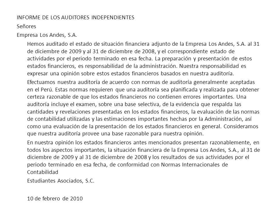 INFORME DE LOS AUDITORES INDEPENDIENTES Señores Empresa Los Andes, S.A.