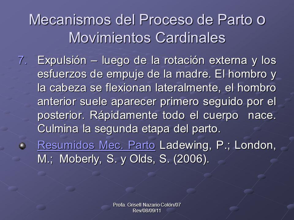 Mecanismos del Proceso de Parto o Movimientos Cardinales