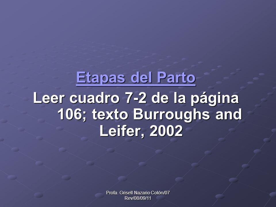 Leer cuadro 7-2 de la página 106; texto Burroughs and Leifer, 2002