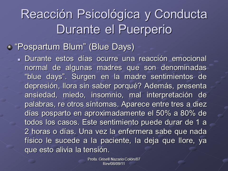Reacción Psicológica y Conducta Durante el Puerperio