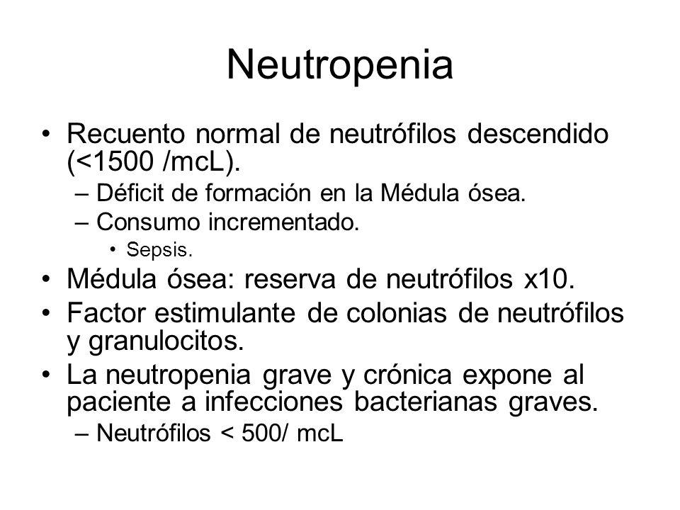 Neutropenia Recuento normal de neutrófilos descendido (<1500 /mcL).