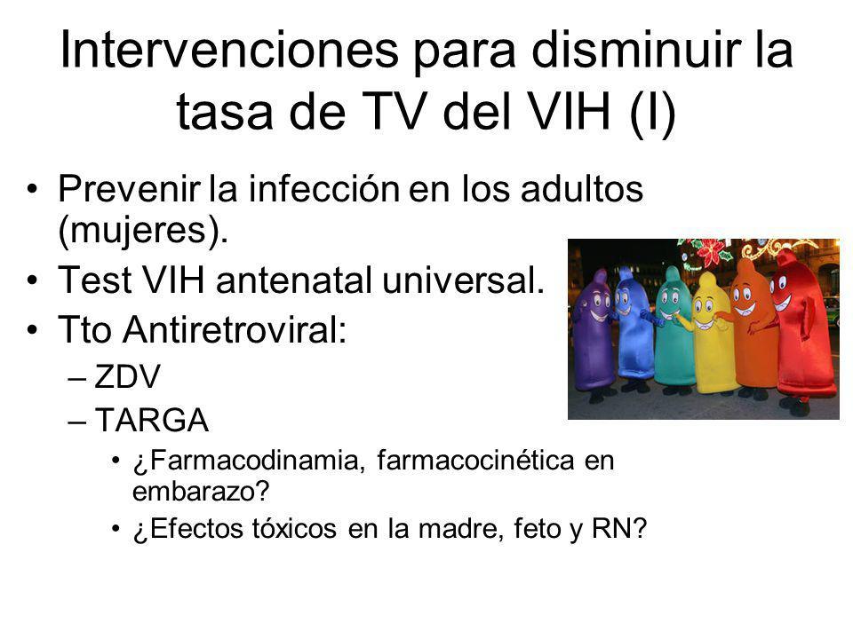 Intervenciones para disminuir la tasa de TV del VIH (I)