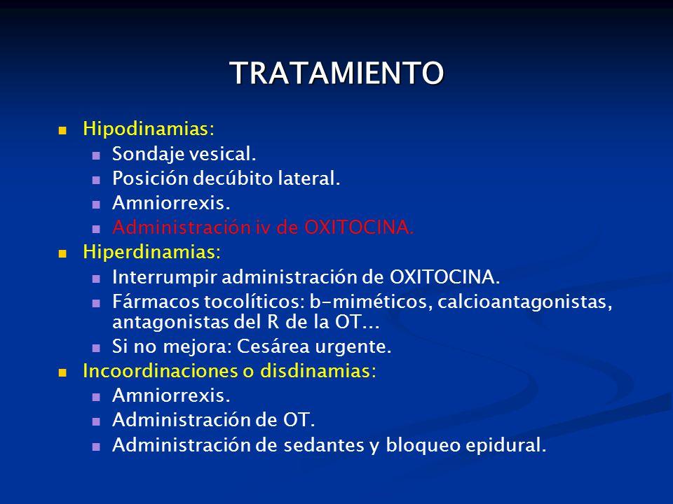 TRATAMIENTO Hipodinamias: Sondaje vesical. Posición decúbito lateral.
