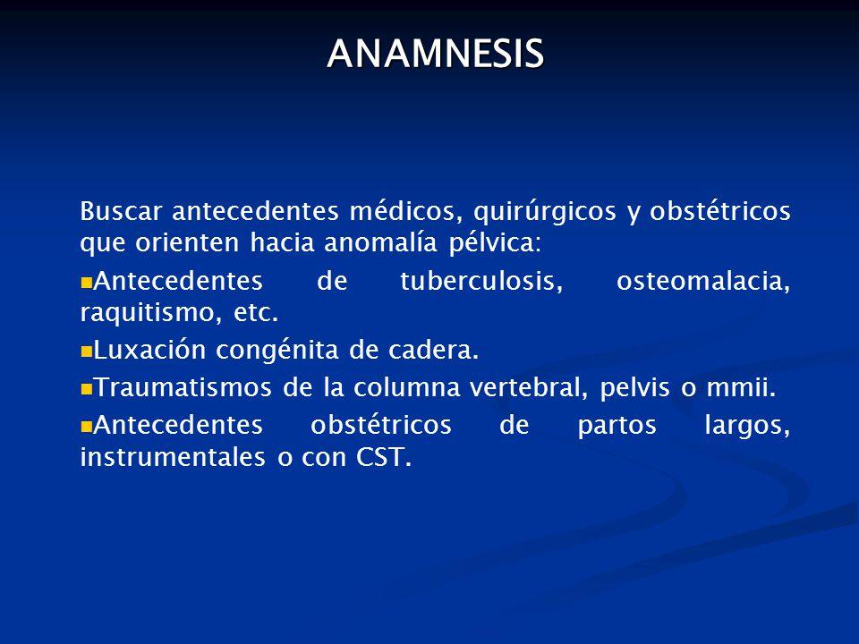 ANAMNESIS Buscar antecedentes médicos, quirúrgicos y obstétricos que orienten hacia anomalía pélvica: