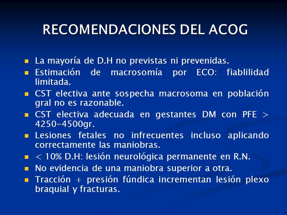 RECOMENDACIONES DEL ACOG