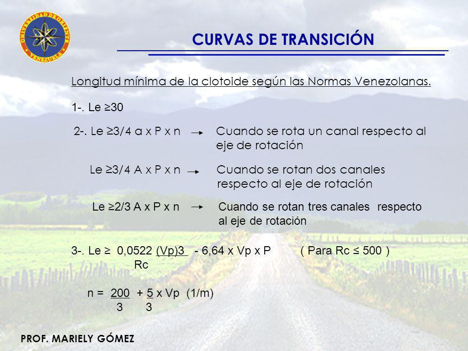 CURVAS DE TRANSICIÓN Longitud mínima de la clotoide según las Normas Venezolanas. 1-. Le ≥30.