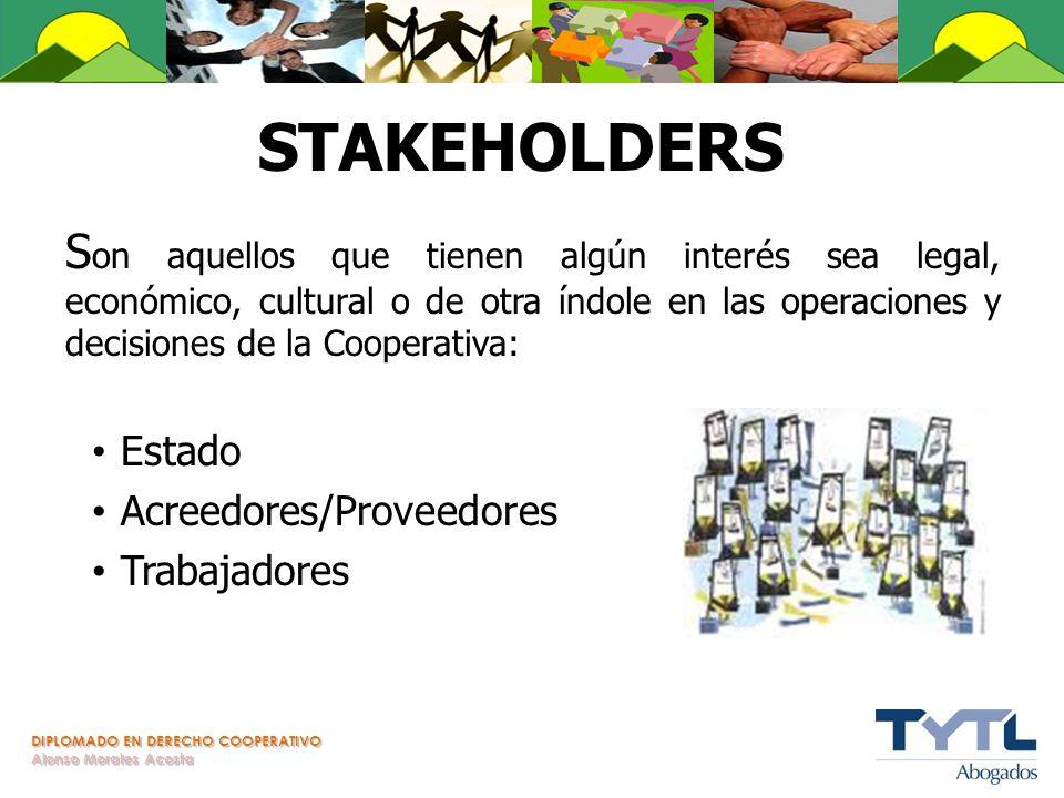 STAKEHOLDERS Son aquellos que tienen algún interés sea legal, económico, cultural o de otra índole en las operaciones y decisiones de la Cooperativa: