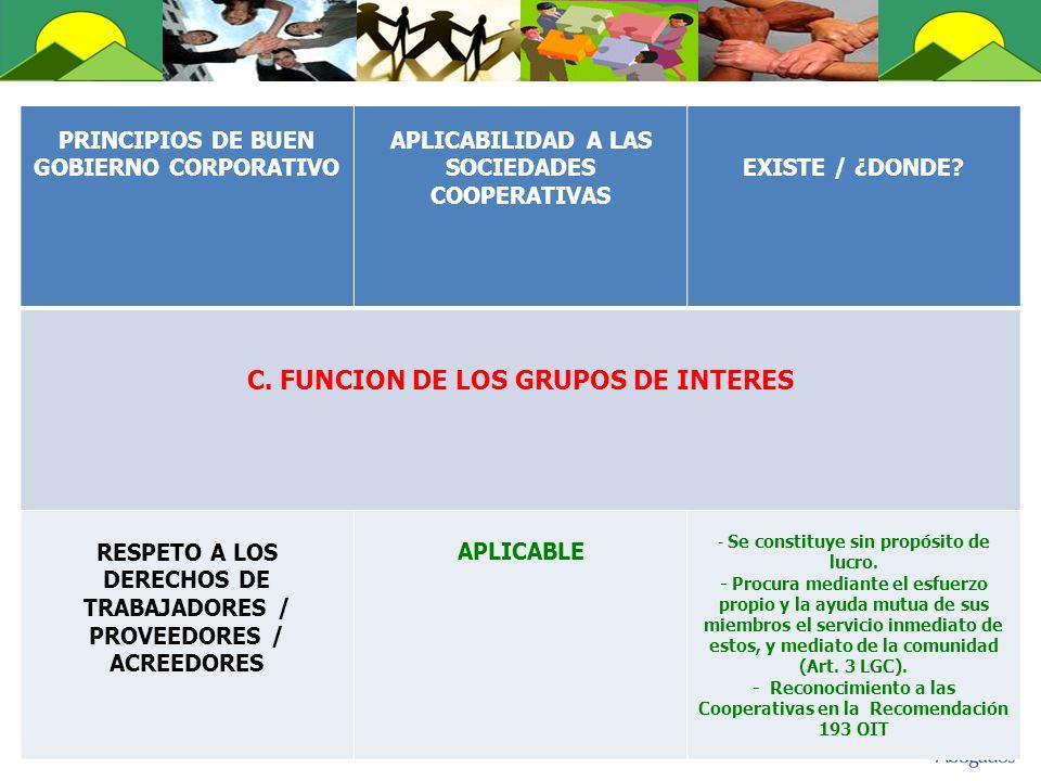 C. FUNCION DE LOS GRUPOS DE INTERES