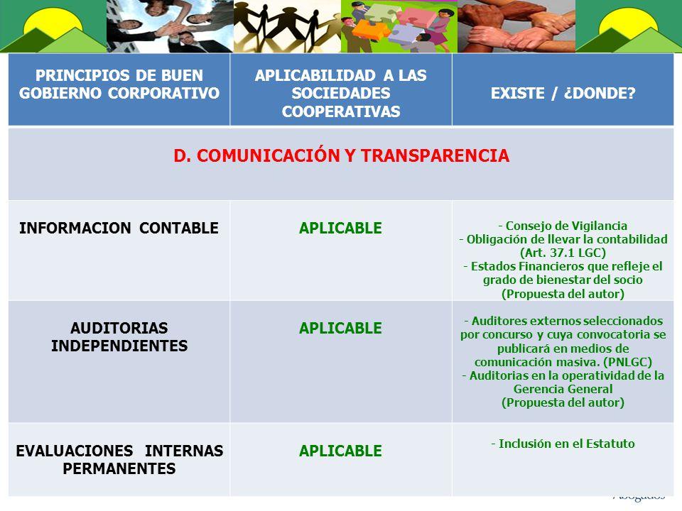 D. COMUNICACIÓN Y TRANSPARENCIA