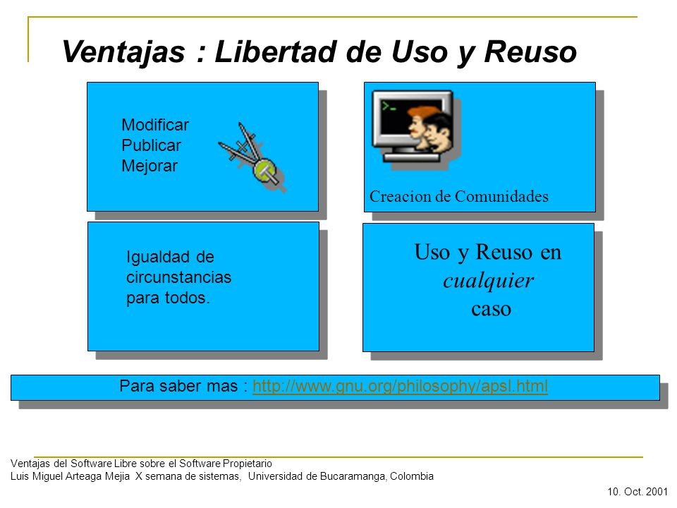 Ventajas : Libertad de Uso y Reuso