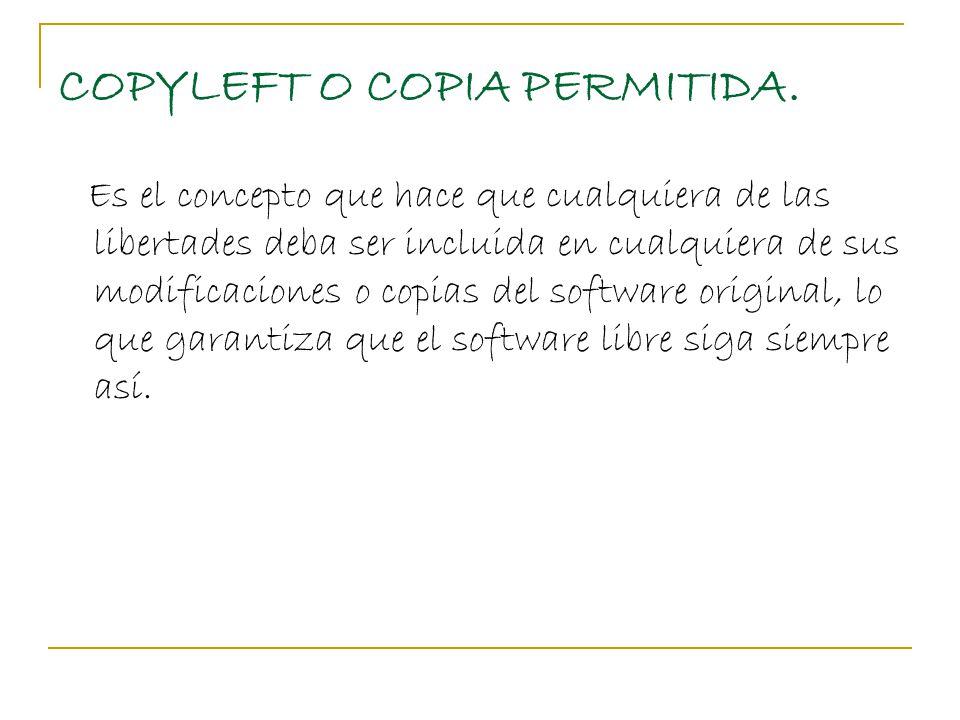 COPYLEFT O COPIA PERMITIDA.