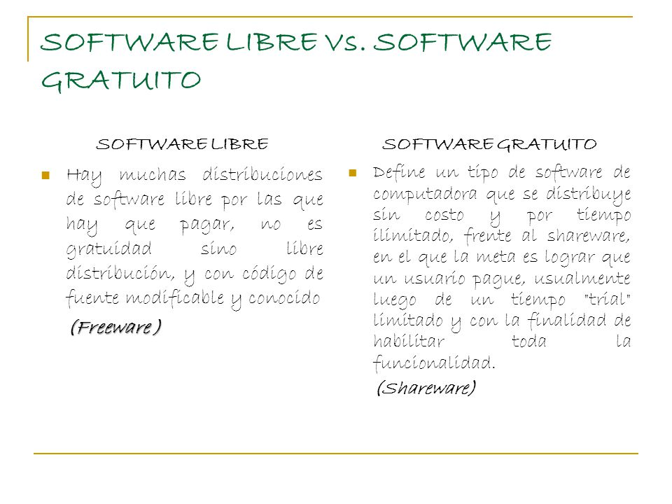 SOFTWARE LIBRE Vs. SOFTWARE GRATUITO
