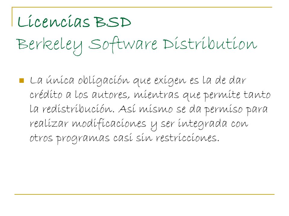 Licencias BSD Berkeley Software Distribution