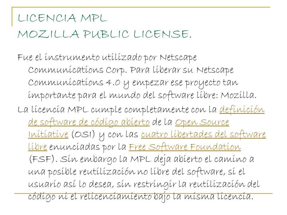 LICENCIA MPL MOZILLA PUBLIC LICENSE.