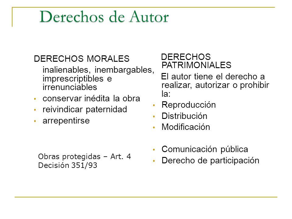 Derechos de Autor DERECHOS PATRIMONIALES DERECHOS MORALES
