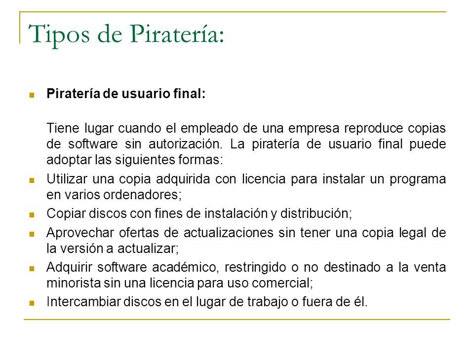 Tipos de Piratería: Piratería de usuario final: