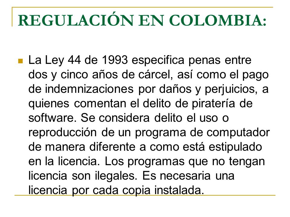 REGULACIÓN EN COLOMBIA: