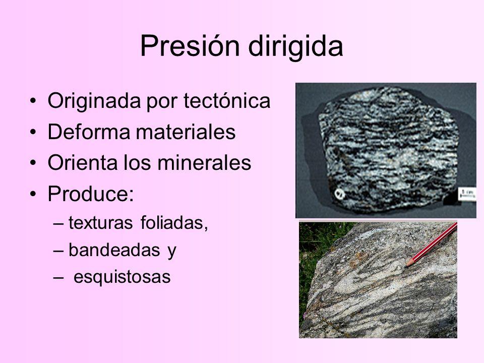 Presión dirigida Originada por tectónica Deforma materiales