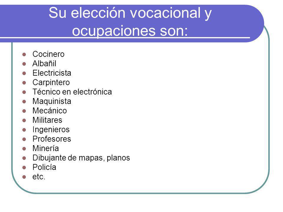 Su elección vocacional y ocupaciones son: