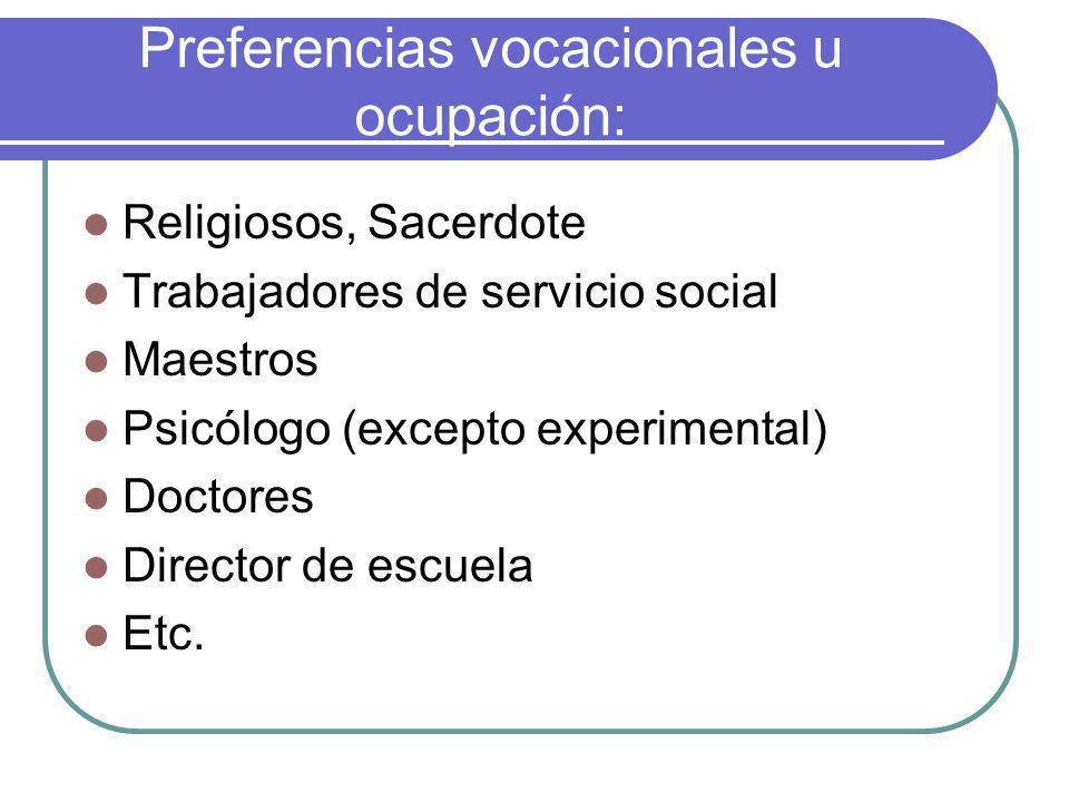 Preferencias vocacionales u ocupación: