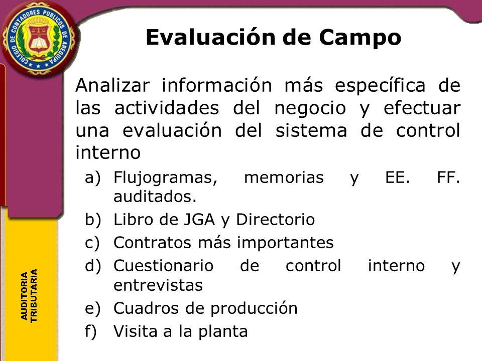 Evaluación de Campo Analizar información más específica de las actividades del negocio y efectuar una evaluación del sistema de control interno.