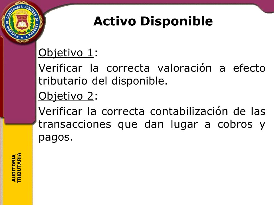 Activo Disponible Objetivo 1: